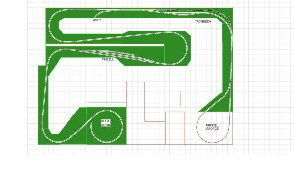 ROOM LAYOUT V4 HELIX UPPER BENCHWORK MAINLINE AND SIDINGS VERSION 3 TACH 20 CAR T